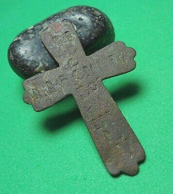 Ancient Bronze Cross Wearable Pendant Antique Rare C191