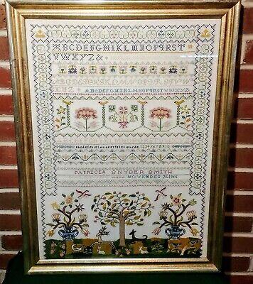 Framed Vintage American Embroidered Silk On Linen Sampler w/Animals w/Provenance