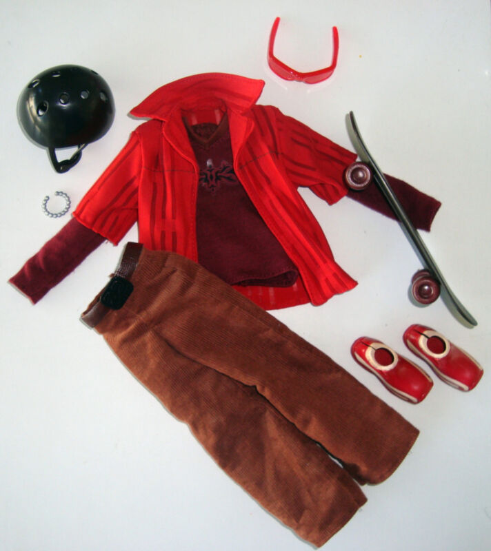 My Scene Doll Clothes/2 Shirts/Cords/Shoes/Skateboard/Helmet/Bracelet NEW!