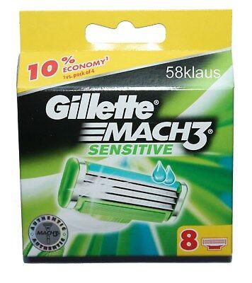 GILLETTE MACH3 MACH 3 SENSITIVE 8 Rasierklingen M3 Gilette 8 Stück in OVP Gillette Rasierklingen Mach