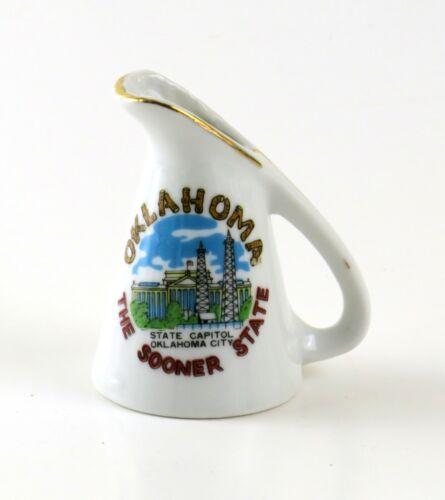 Vintage Oklahoma The Sooner State Mini Souvenir Ceramic Pitcher Toothpick Holder