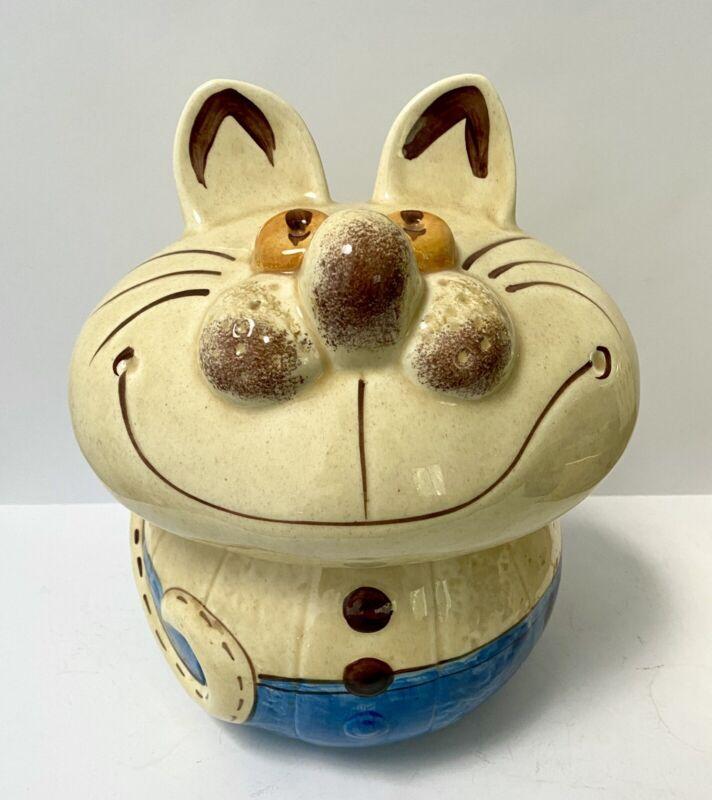 Vintage 1970s Doranne Of California Yellow Cat Ceramic Cookie Jar Cheshire Grin