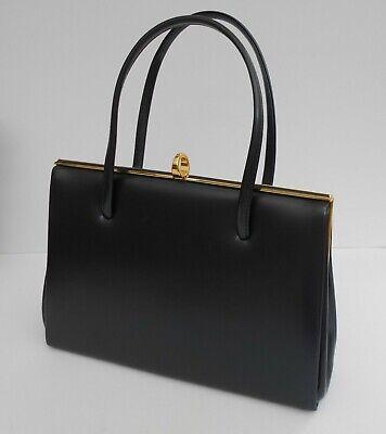 Vintage/Retro Navy Kelly Handbag.Faux Leather Suede/Leather Interior.