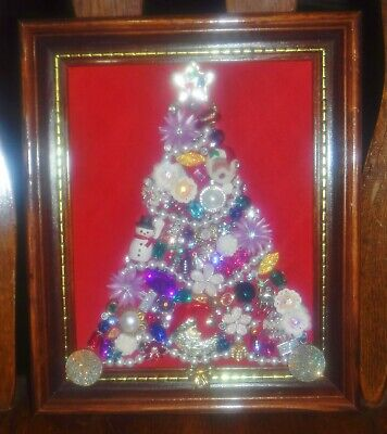Vintge Jewlery Art Christmas Tree, signed, & framed