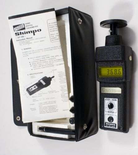 Shimpo DT-105 Handheld Digital Tachometer Kit W/CASE PAPERS AND OTHER ATTACHMENT