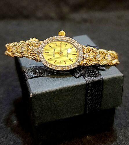 14K GOLD GENEVE SWISS MVT DIAMOND WOMEN