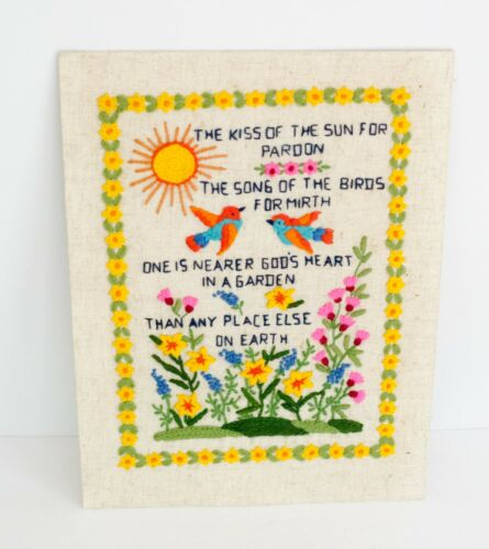 Vintage 1970s Finished Crewel Embroidered Art Floral Kiss of the Sun Boho Birds