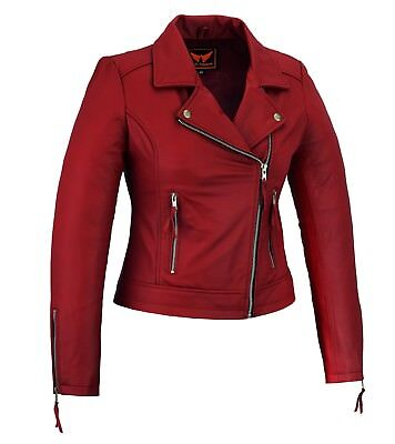 Women Genuine Sheep Motorcycle Casual Soft Light Weight Leather Jacket Red Lightweight Leather Motorcycle Jackets