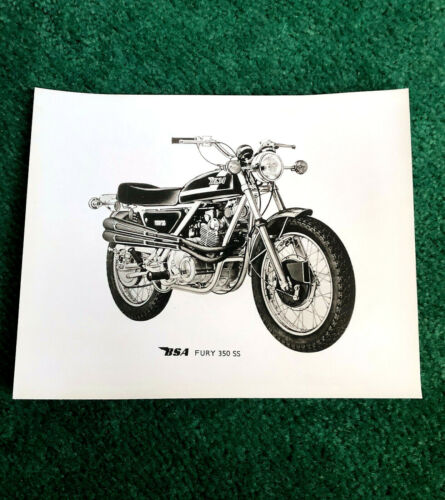 ORIGINAL 1971 BSA MOTORCYCLE FACTORY PRESS PHOTO FURY 350SS 350-SS OHC E35SS E35
