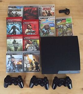 PS3, Controllers, Headset, and Games