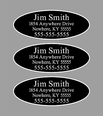 Custom Black Oval Club Shaft Labels With Your Name, Address & Phone Number