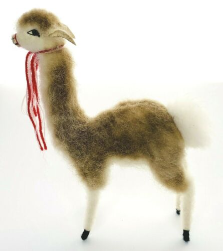 Real Natural Alpaca Llama Fur Standing Figurine Stuffed Animal Brown White 8""
