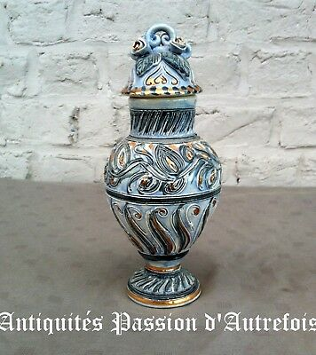 B201851 - Petit vase couvert en céramique - 21 cm de hauteur - 2 petits manques