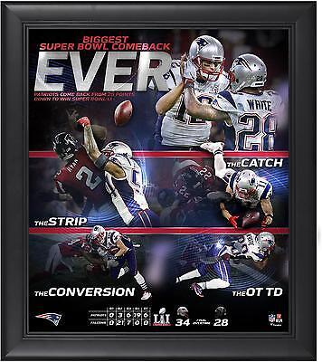 New England Patriots Super Bowl LI Champs Framed 15x17 Biggest Comeback Collage