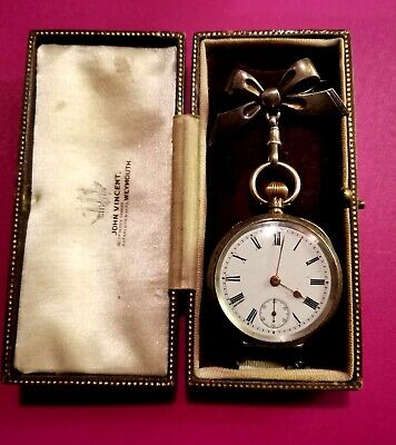 ANTIQUE SILVER OMEGA LADIES WATCH WITH SILVER BOW PIN - LOVELY