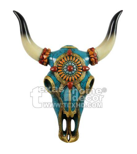 Southwestern Turquoise Orange Gold Faux Longhorn Steer Wall Mounted Cow Skull