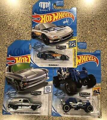 HOT WHEELS 2019 WALMART EXCLU. ZAMAC, SET 10-12, MAZDA, VOLKSWAGEN,  MAULER