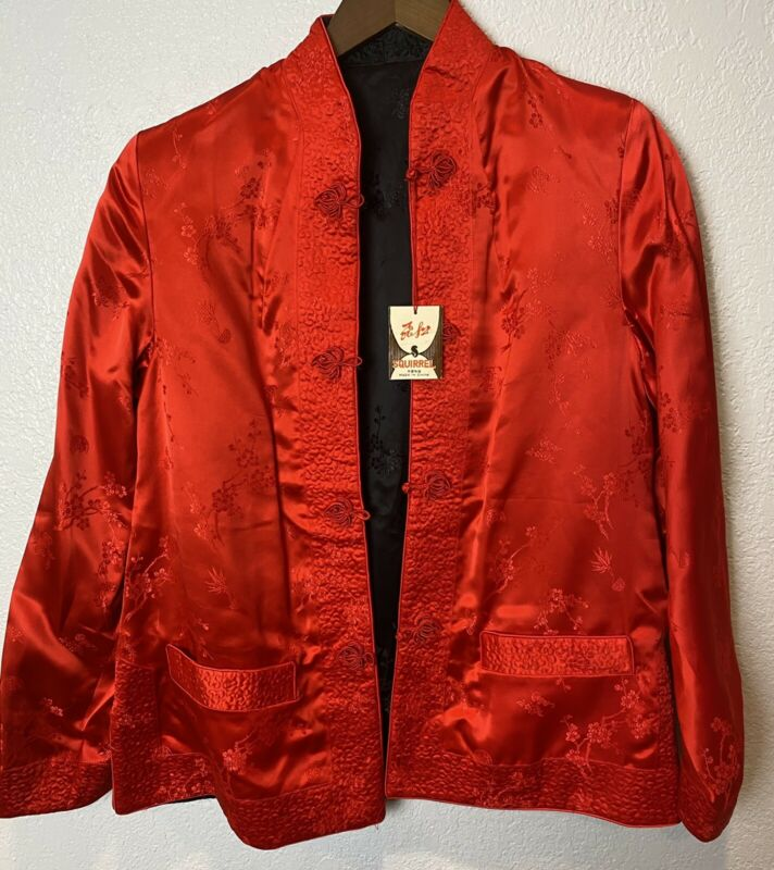 New Squirrel Chinese Solz Reversible Jacket Red Black Ladies Size Large