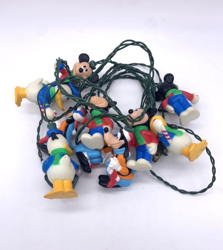 Vtg Disney Character String Christmas Lights 10 Light Set Mickey Donald Pluto