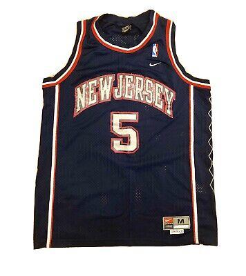 Jason Kidd New Jersey Nets Nba Men M Nike Sewn Vtg  #5