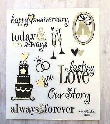 Silver Foil Happy Anniversary Planner Stickers Bujo Invitations Envelope Seals - Anniversary Stickers