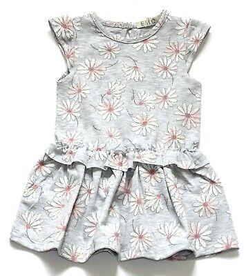 EMC Baby Mädchen Jersey Kleid Hellgrau Weiß Pink Flower Gr. 68 74 80 86 92 NeU Flower Jersey Kleid