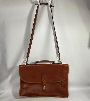 VINTAGE SCHLESINGER Brown Leather Flap Over Briefcase Shoulder Bag w/ Strap  Leather Flap Over Briefcase