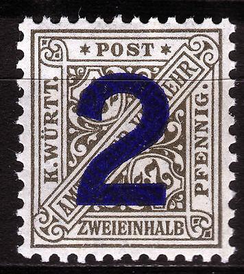 Württemberg 257 **, 2 auf 2 1/2 Pf. Ziffer im Schild