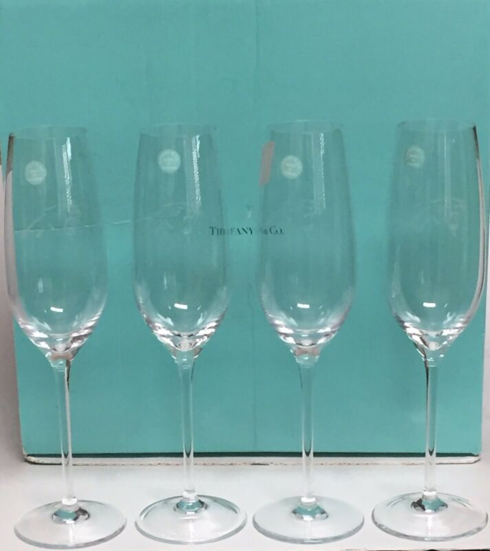 """Tiffany & Co. Etched Carolina Panthers Football Champagne Flutes 9 5/8"""""""