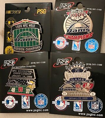 Set of 4 St Louis Rams Super Bowl 34 Collector Pins