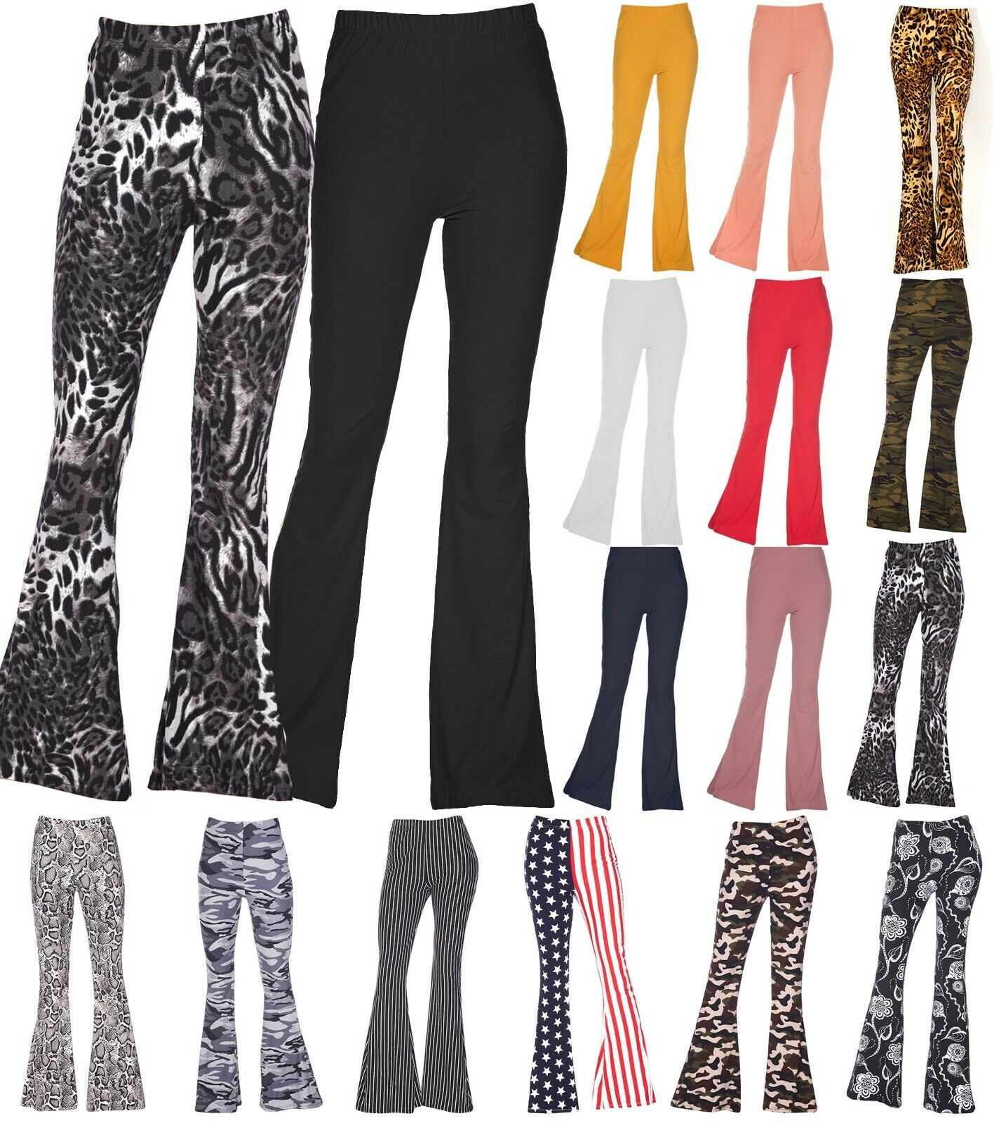 Womens Stretchy Bell Bottom Flare Palazzo Hippie Pants