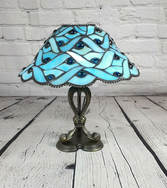 """Party Lite SPRING WATER Candle Lamp P7952 Stained Glass Retired 10"""""""