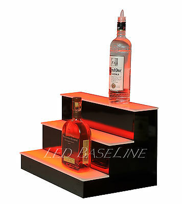 18 Led Lighted Bar Shelf Three Step Liquor Bottle Glorifier Back Bar Shelving
