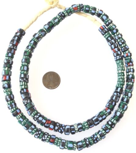 Ghana handmade recycled glass Green Mixed stripes disk African Trade Beads