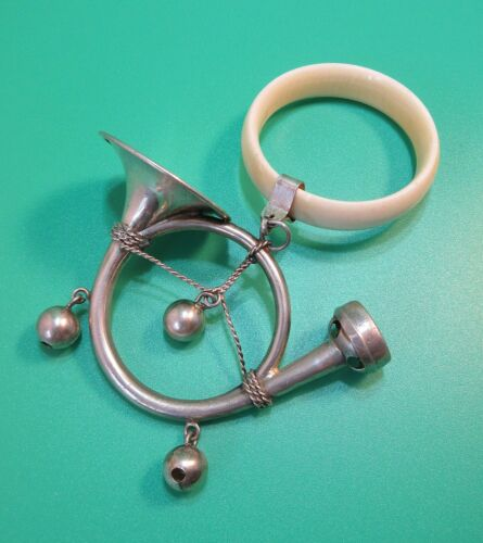 Antique Silver Rattle Teether Whistle French Horn