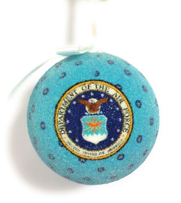 JWM US Air Force 3in Ball Frosted w Stars Holiday Christmas Tree Ornament
