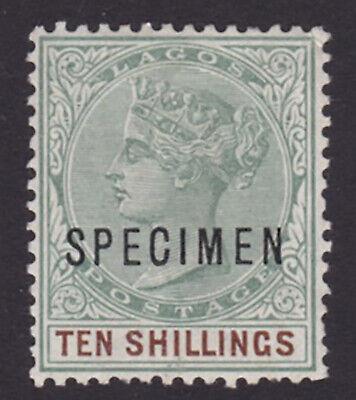 Lagos. SG 41s, 10/- green & brown, specimen. Fine mounted mint.