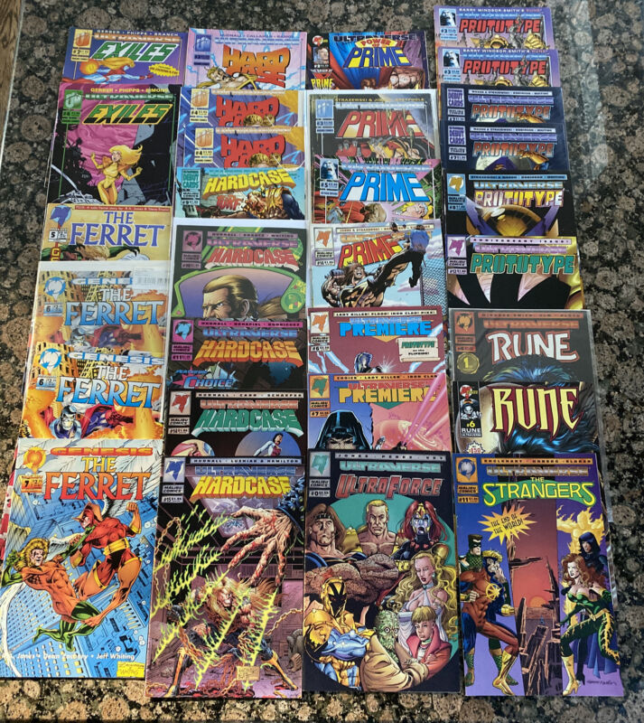 Lot of 30 Ultraverse Malibu Comics - Hard Case, Exiles, Strangers, Prime, Rune