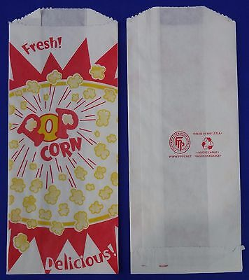 1 Oz Popcorn Snack Paper Bags 3.5 X 2 X 8 Concession Machine Supplies