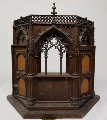 Antique Gothic Style Carved Wood Religious Icon Reliquary Cathedral Architecture
