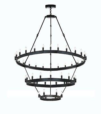 Castille 3 Lights - Wrought Iron Barn Castile 3 Tier Chandeliers Loft Rustic Lighting W 38? H 65?