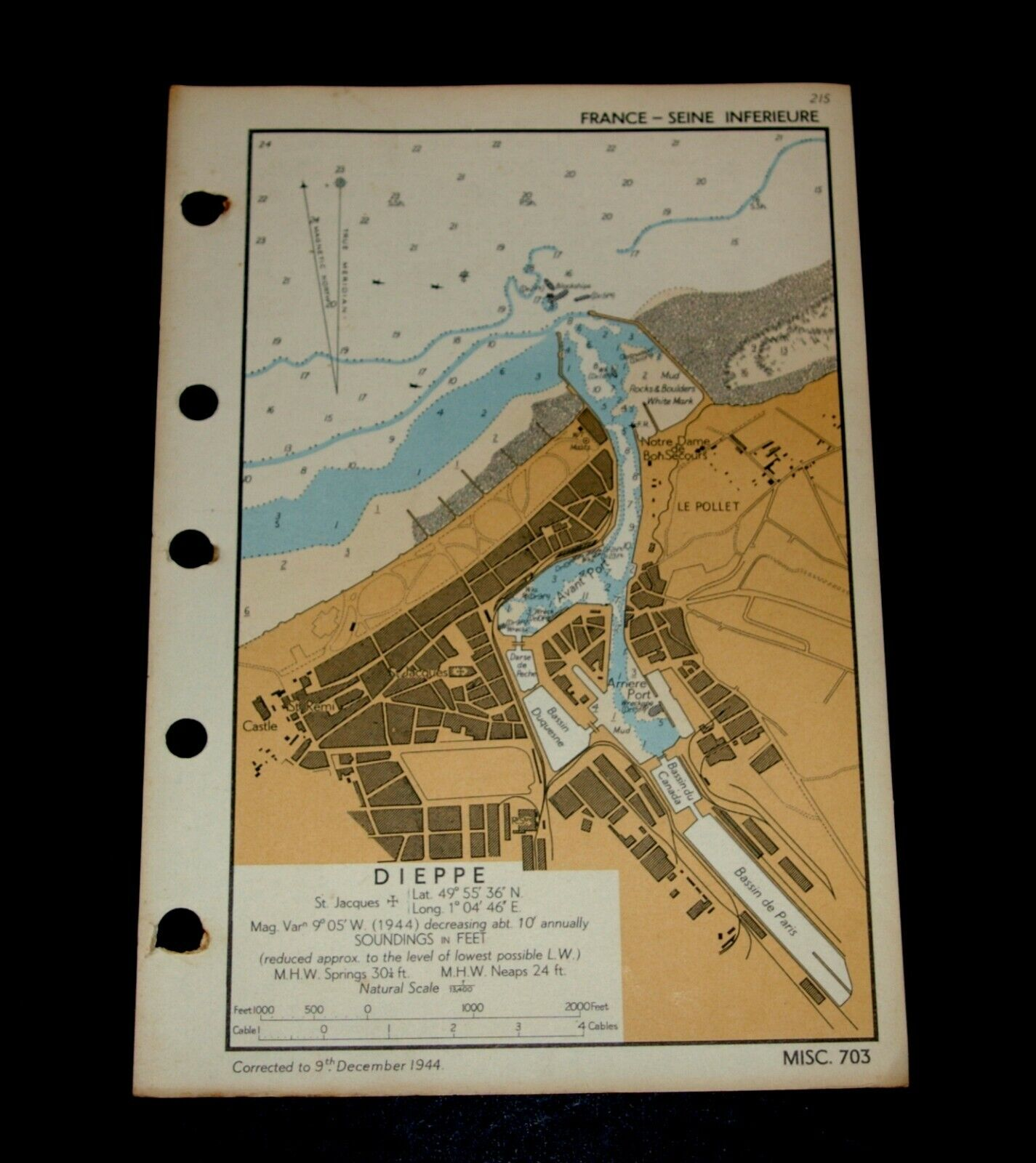 DIEPPE France vintage WW2 Important Military Map 1944