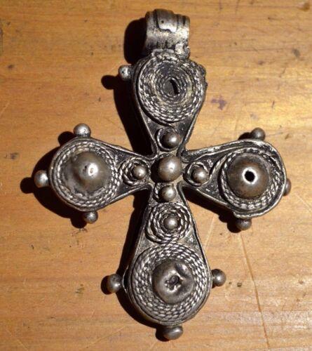 Antique Ethiopian Christian Cross Ethnic Coin Silver Pendant Ethiopia, Africa