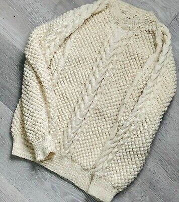 VTG Handmade IRISH IRELAND Mens Chunky Cable Knit Fisherman Sweater L or XL