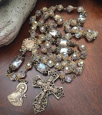 French Rosary St Therese ~ 8mm Austrian crystals ~Antique Bronze Design Handmade