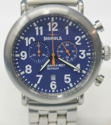 Men's Shinola The Runwell Chrono 47 mm Stainless Steel Watch Argonite 5021