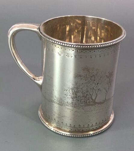 Victorian Silver Christening Mug Landscape Theme Crichton Glasgow 1871 164g AEZX