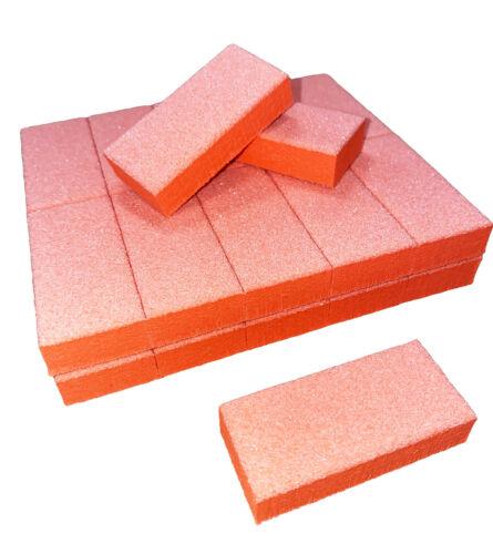 25pc Nail Buffer 80/80 White Grit Orange Sanding Mini Small Buffer Blocks 2 Side