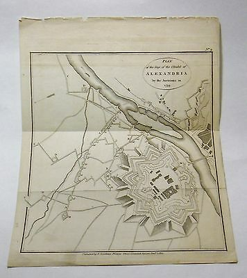 ANTIQUE MAP SIEGE PLAN OF ALEXANDRIA BY AUSTRIANS 1799 PUBLISHED GARDINER 1812