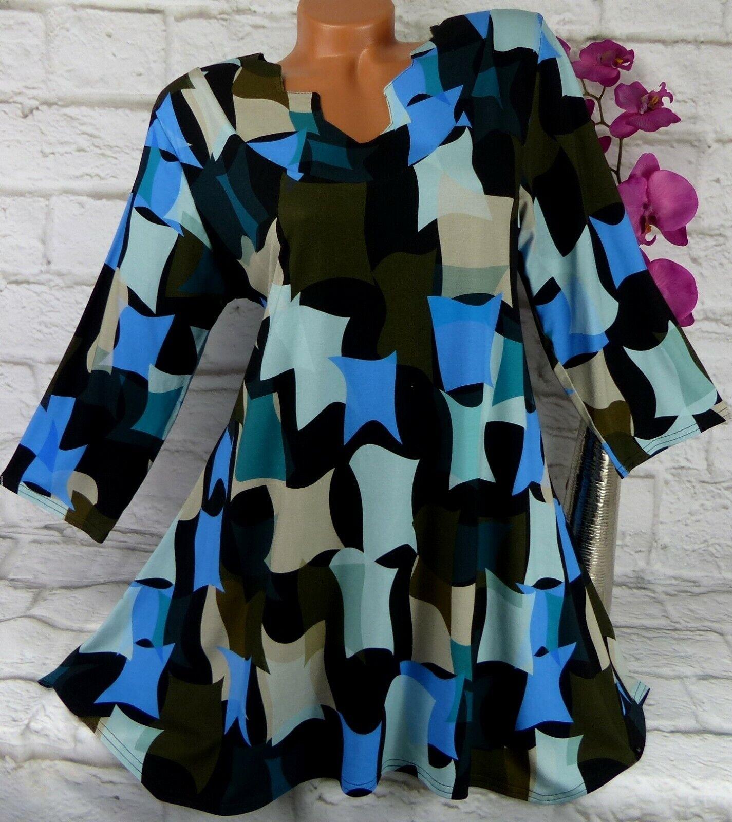 New Jersey Tunika Bluse Kleid Top Shirt Lagenlook A-Linie Viskose Bunt XL 44 46